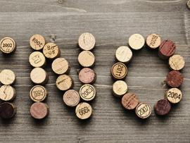Pinot spelled out in corks for Pinot on the River