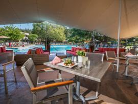 Poolside dining at the Terrace Grill at the Flamingo Resort