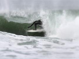 Surfing on the Northern California coast
