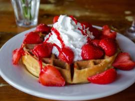 Timberline Restaurant Belgian Strawberry Waffles