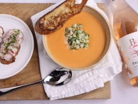 Virtual Event: In the Kitchen with Bricoleur - Shrimp Bisque and Radish Tartine Photo
