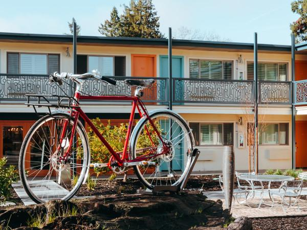 The Astro Motel Entrance with Bike Photo