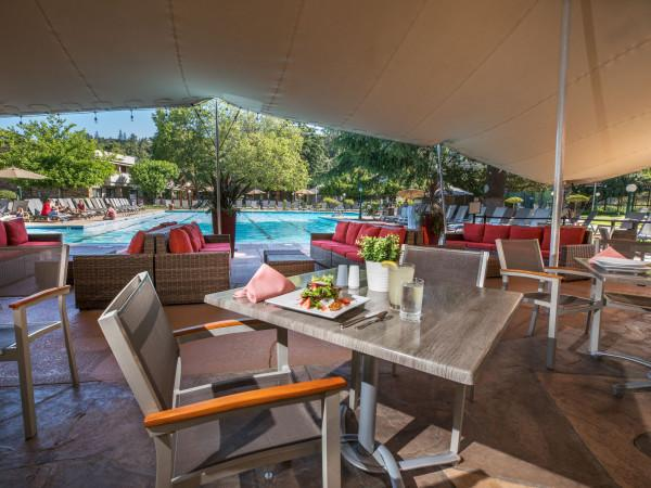 Poolside dining at the Terrace Grill at the Flamingo Resort Photo