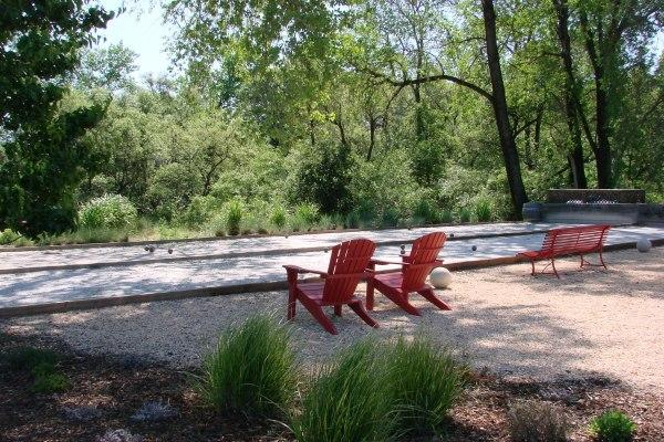 Bocce and Red Chairs Photo