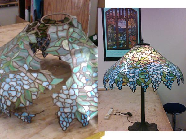 Lamp restoration, bent kiln-formed glass shades or stained glass shades. Photo 6