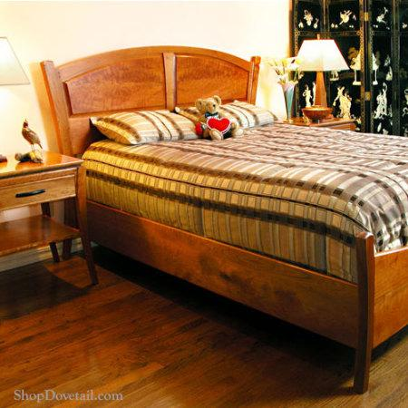 Custom Cherry Bedroom - Contemporary bed and nightstand featuring figured cherry. Photo 2