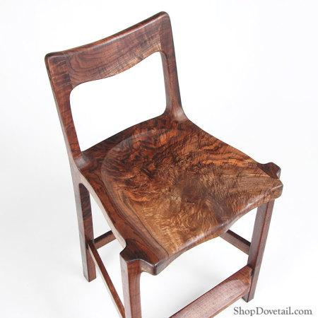 Claro Walnut Stool - Handmade custom wood stool in spectacular walnut. Photo 4