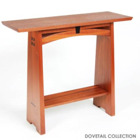 Keystone Entry Table - Arts and Crafts inspired handmade wood entry table, featuring sapele and wenge woods. Photo 3