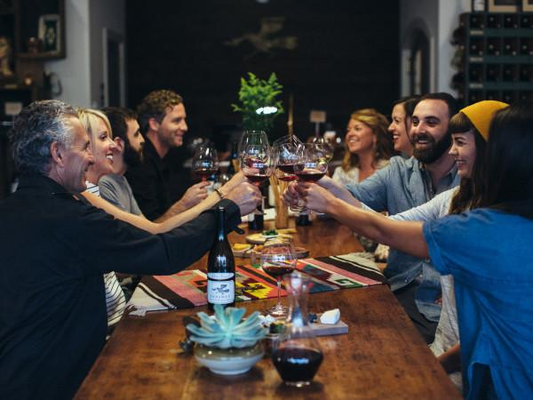 The communal table at Banshee Wines Photo