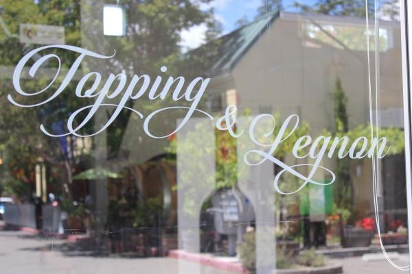 Logo on door of Topping & Legnon Tasting Room Photo 3