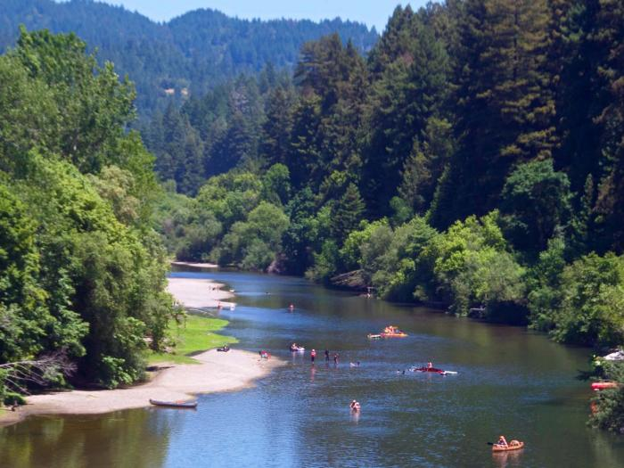 Russian river on a sunny day