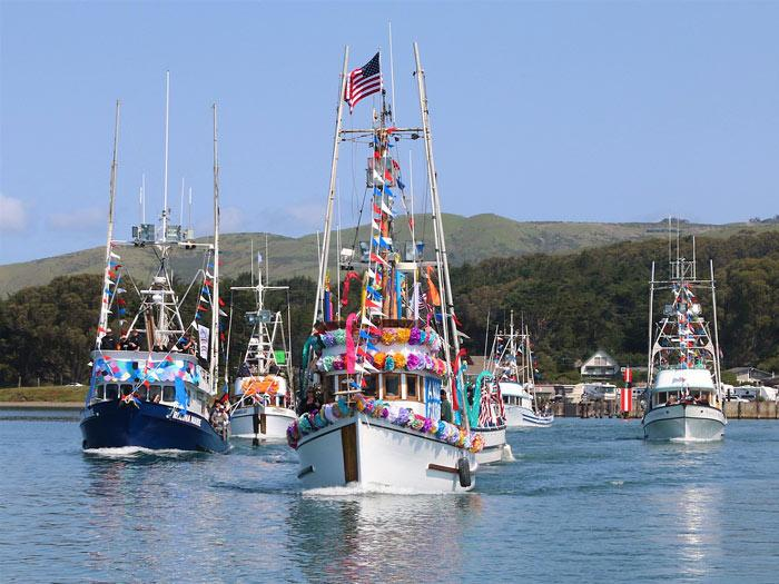 Fishing boats decorated for the festival