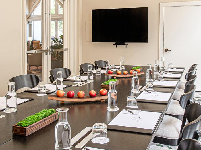 A conference room set up for a meeting