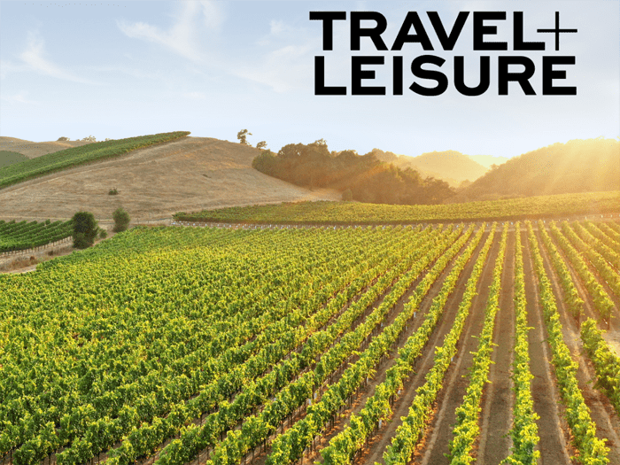 Travel and Leisure logo on Sonoma County vineyard