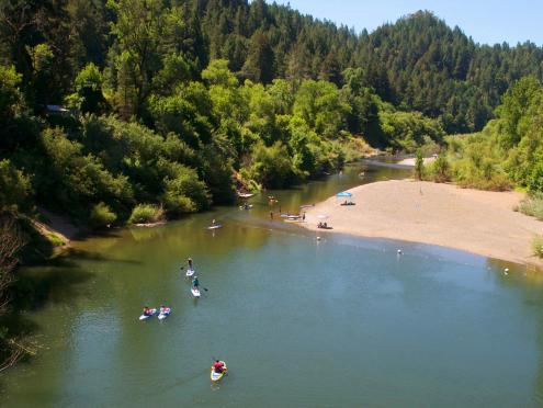 People paddle board in the Russian River in Sonoma County