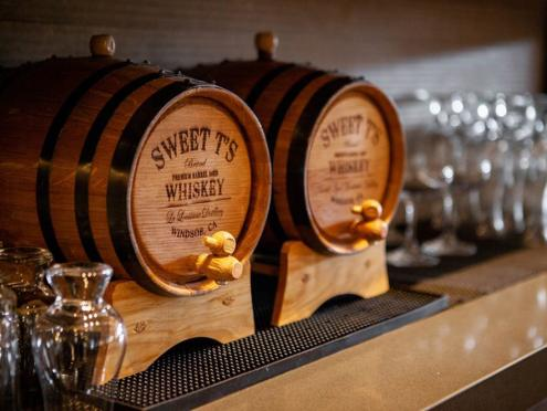 Two whiskey barrels from Sweet T's in Windsor, Sonoma County, California
