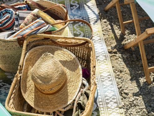 Image of straw hat and basket.