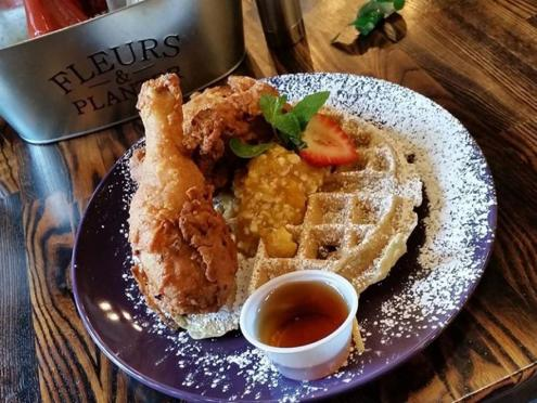 Image of chicken and waffles from Gator's Rustic Burger