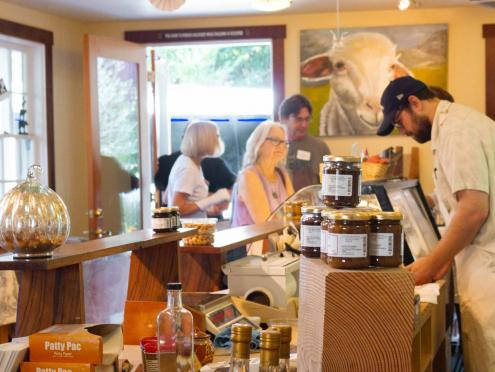 The interior of the cheese shop in Freeston is filled with delicious goodies