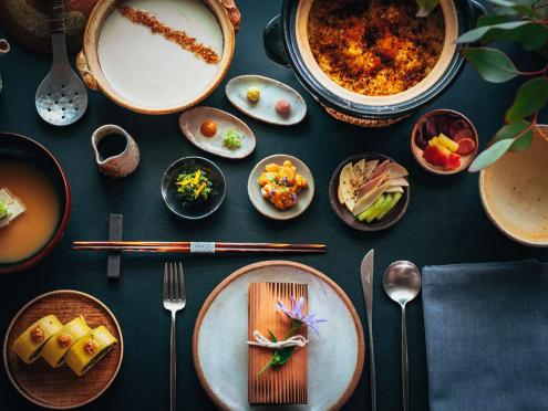 Multiple japanese dishes as seen from above