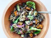 Food Mechanic - Butternut & Maitake salad: little gems, mustard greens, roasted butternut squash, roasted maitake mushroom, wild rice, shaved red cabbage, avocado, radish, pickled red onion, black sesame seeds, lime tamari vinaigrette
