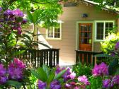 Charming cabins with sunny porches.