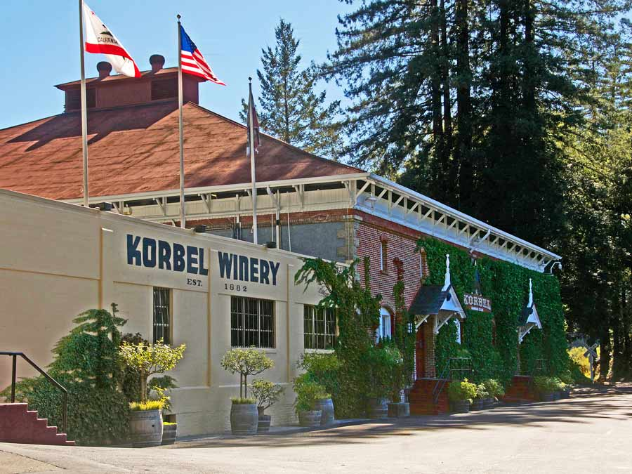 The outside of Korbel Champagne Cellars in Guerneville